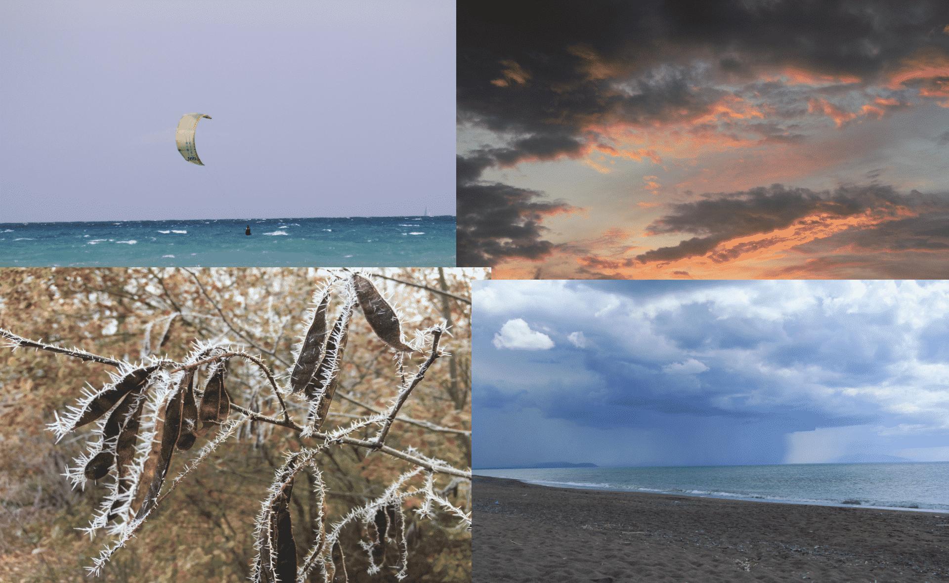 Sole, tramonto, gelo e pioggia
