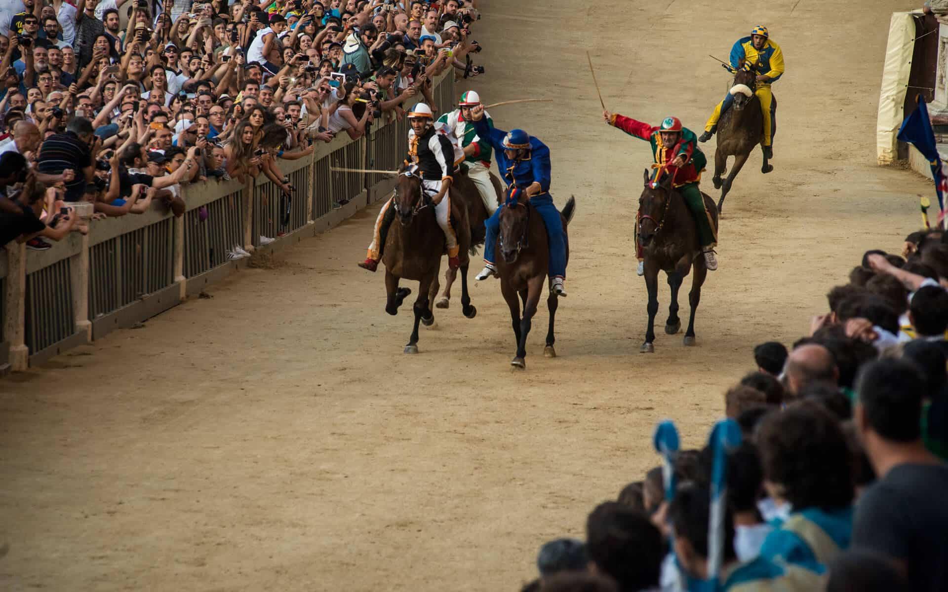 Palio: cavalli all'arrivo