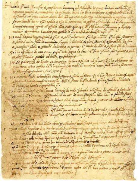 Lettera di Leonardo a Ludovico il Moro