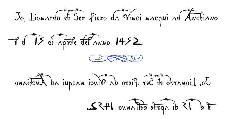 esempio di scrittura leonardiana